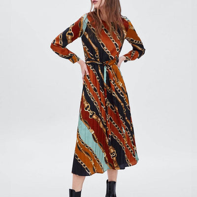 Spring Women Fashion Chains Print Shirt Dress Sashes Long Sleeve O neck Ladies Casual Loose Mid Calf Dresses Vestido Gift