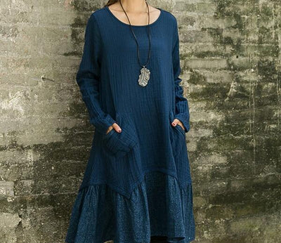Spring Female Cotton Linen Floral Print Long Sleeve Women Dress Vintage Ethnic Mori Girl Loose Gothic Dress Tunique Hippie Boho