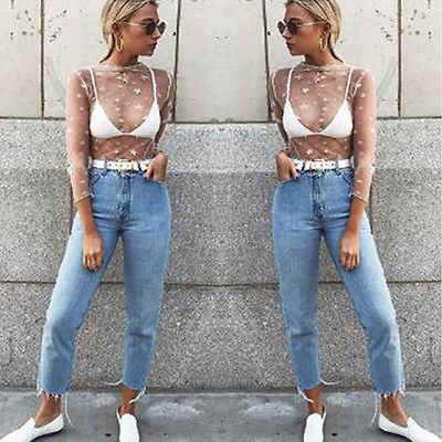 Star Print T-Shirts Women Mesh Net T-Shirt Long Sleeve Tee Tops Transparent Slim White Tops