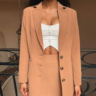 Streetwear Single Breasted Notched Women Blazers and Jackets Pockets Long Sleeve Female Casual Coats Office Lady Outerwear Tops