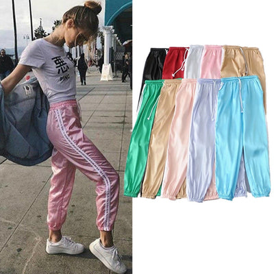 Streetwear Summer Satin Silk Harem Pants Sweatpants Women Striped Loose Fitness Long Jogger Trousers High Waist pantalones mujer