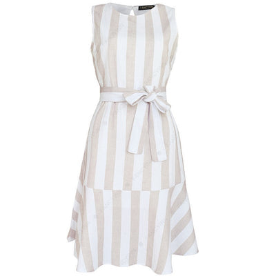 Striped Print Backless Dress Women Sashes O Neck Sleeveless Office Lady Elegant Dress Female Spring Summer New