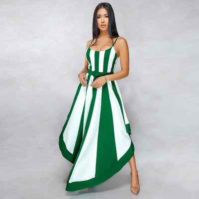 Striped Print Summer Irregular Sundress Women Spaghetti Strap Backless Plus Size Dress Casual Sleeveless Boho Beach Maxi Dress