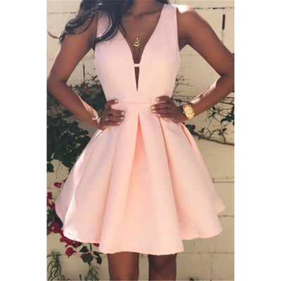 Stylish Sexy Women dress casual Deep V-Neck Sleeveless Party Polyester solid Evening Mini Dresses one pieces