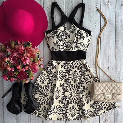 Stylish Summer Style Women Summer Sleeveless Printing Empire Dresses Evening Party Beach Dress Short Mini Dress New Costume