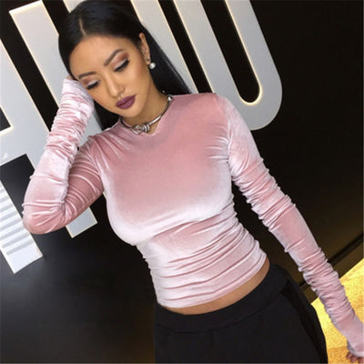 Stylish Women clothes Casual Long Sleeve Slim V-neck solid Blouses Casual pullover Velvet Shirts one pieces