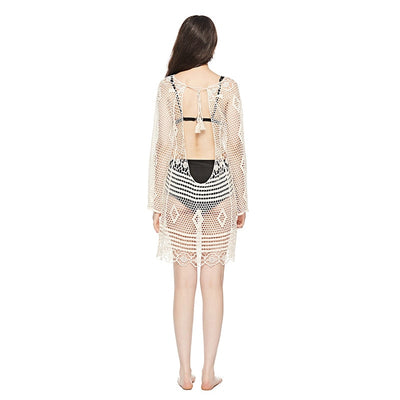 Sukibandra Summer Long Sleeve Crochet Beach White Hippie Short Dress Hollow Out Backless Women Boho Bohemian O Neck Cotton Dress