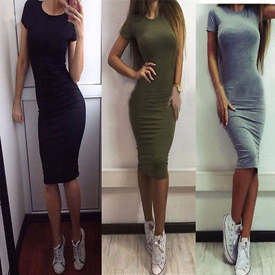Summer Women Casual Short Sleeve Evening Party Dress Midi Dress 3 Colors