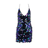 Summer Beach Wear Sexy Sleeveless V Neck Backless Dress Women Spaghetti Strap Black Pink Sequins Dressping
