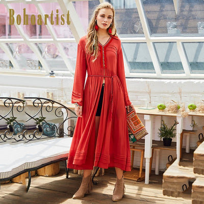Summer Boho Maxi Long Dress Split Plus Size Stretch Tassel Embroidery Bohemian Maxi Dress Sexy Ethnic Deep V-neck Hippie Robe