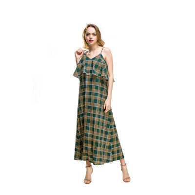Summer Chiffon V Neck Backless Dress Women Boho Style Floral Striped Plaid Beach Dress Ankle Length Cami Dress Sundress