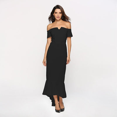 Summer Dress Women Sexy Elegant Off Shoulder Sleeveless Beach Party Dress Vintage Casual Backless Black Long Dress Vestidos
