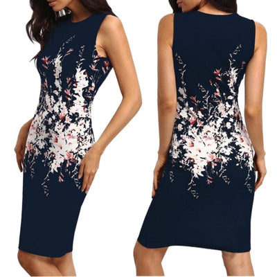 Summer Dress Women Floral Print Sleeveless Cocktail Party Sexy Bodycon Sheath Dress Knee-Length O-Neck Slim Fit Dresses S~2XL