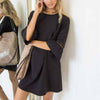 Summer Fashion Women Shift Mini Dress Elegant Candy Solid Color Flare Half Sleeve Lace Hollow Out Patchwork Dresses DIC001