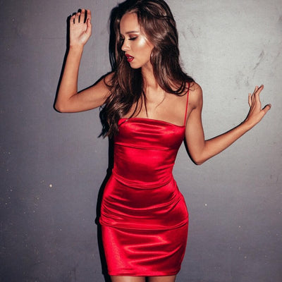Summer Faux Silk Satin Dresses Sexy Low Cut Backless Dress Woman Party Night Red Black Slim Stretch Short Dress Vestido