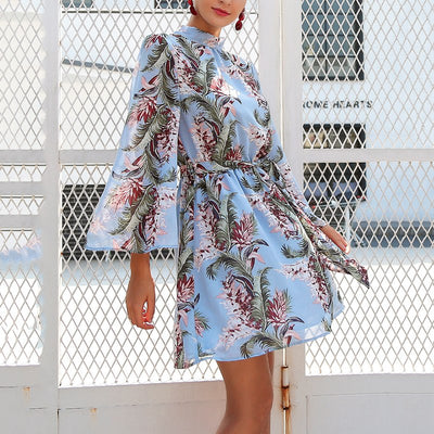 Summer Floral Print Beach Dress Vintage Women Elegant Long Sleeve Bandage Backless Dress Womens Chiffon Short Mini Party Dress