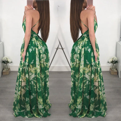 Summer Holdiay New Women Long Maxi Dress Slim Floral Print Deep V Backless Beach Boho Spaghetti Strap Dresses