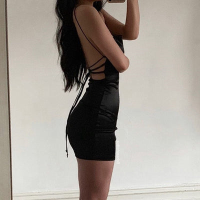 Summer Leopard Print Satin Dresses Woman Party Night Sexy Cut Backless Dress Slim Stretch Short Dress 2019