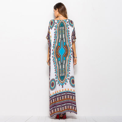 Summer Maxi Dress for Women Boho Print Long Dresses Casual White Hippie Bohemian Cotton Loose Clothing Plus Size Fashion 2018