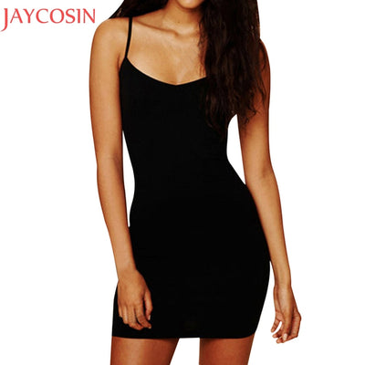 Summer Mini Dress Women Sexy Solid Sleeveless Skinny Dress Fashion Lady Strap Bodycon Dresses Vestido Evening Clun Party Jun22