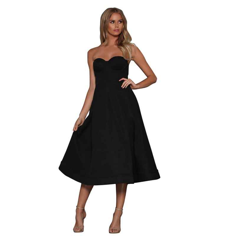 2c7a4c62ab48 Summer Party Dress Women 2019 Sexy Elegant White Black Strapless Evening  Party Dress