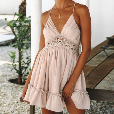 Summer Sexy Backless Dress Women Ruffle Lace Hollow Out Deep V-Neck Party Beach Dress Ladies Strap Sleeveless Boho Dresses