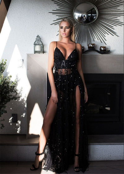 Summer Sexy Elegant sequins Party Backless dress women maxi dress Spaghetti Strap high split long dress robe longue