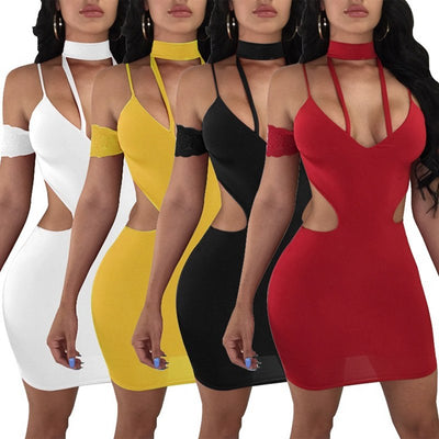 Summer Sexy Spaghetti Straps Backless Dress Women Hollow Out Club Bodycon Party Dress Female Off Shoulder Nightclub Mini Dress