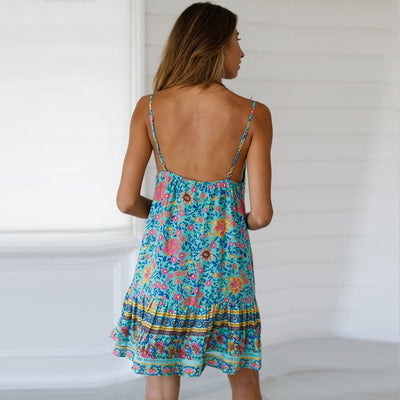 Summer Strapless Floral Print Dress Casual Loose Beach Holiday Backless Women Boho Party Sundress Ruffle Beach Short Mini Dress