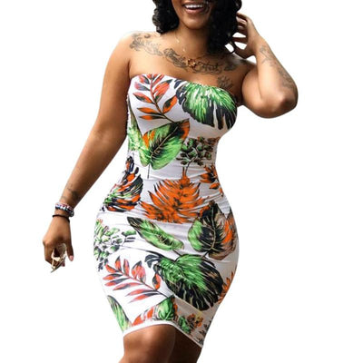 Summer Strapless Leaves Print Dress Women Sexy Hip-wrapped Bodycon Backless Beach Night Club Dresses Hot Summer