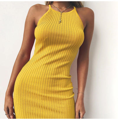 Summer Women Sexy Club Backless Mini Dress Cotton Elastic Spaghetti Strap Bodycon Dress Casual Party Dresses Robe Femme