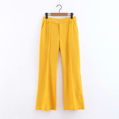 Summer Women Yellow Wide Leg Pants Pockets Zipper Fly Office Lady Full Length Trousers Female Casual Long Pantalones New