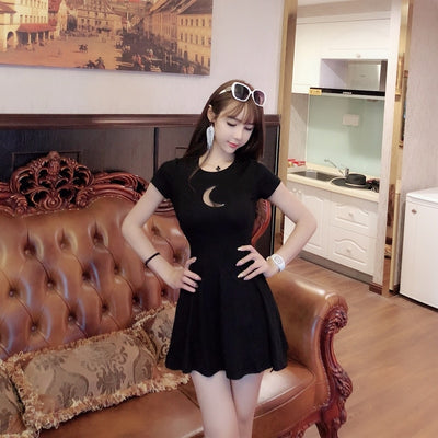 Summer Women Dress Chest Moon Hollow Out Design Round Neck Short-sleeved Sexy Slim Mini Gothic Dress