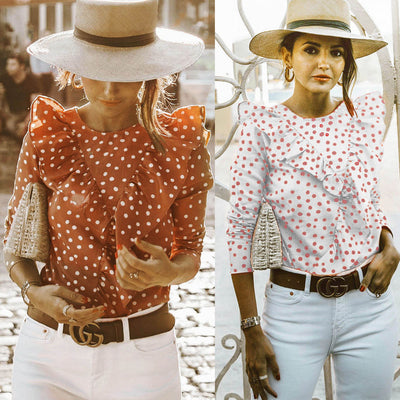 Summer Womens Boho Beach Casual Tops and Blouses elegant Short Sleeve Polka Dot Ruffles shirt Ladies blusa feminina dames ropa