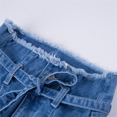 Summer Zipper Fly Pockets Boyfriend Jeans High Waist Women Bow Sashes Ankle Denim Pencil Pants Vaqueros Mujer Plus Size New