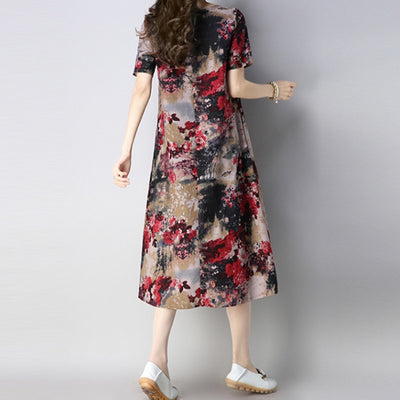 Summer dress Women Cotton Linen Ink Print MD Long dresses vestidos short sleeve Loose plus size Casual Women clothing ZY233