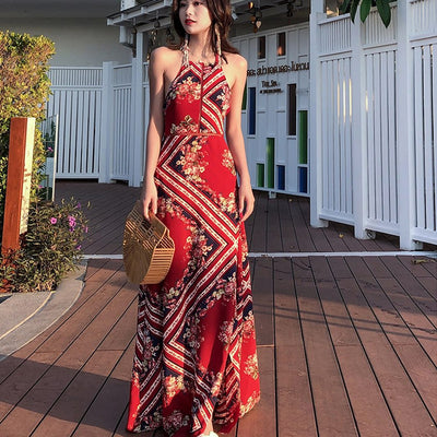 Summer sexy Ladies Long Dress Red Beach Dress Maxi backless Dresses Women Party Dress Sundress Vestidos de festa New streetwear