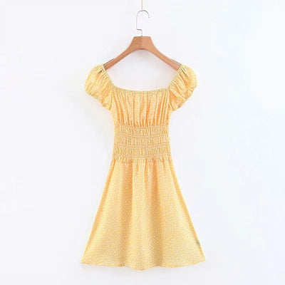 Summer yellow floral mini dress women sexy backless elastic waist chiffon dress korean vestidos vintage casual beach dress 2019