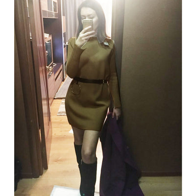 Super good quality cashmere warm turtleneck dress winter spring mini dress straight long sleeve dresses solid sweater thick