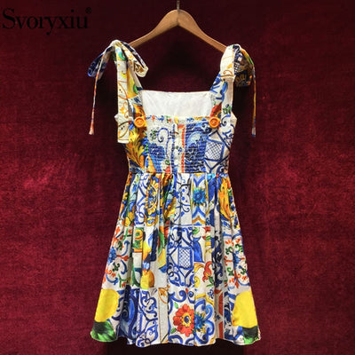 Svoryxiu Summer Cotton Dress Women Painted Pottery Printed Sexy Backless Spaghetti Strap Runway Dress