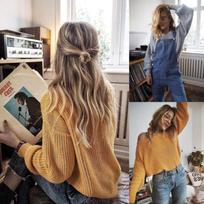 Sweater Shirt Women Jumper Spring Oversized Sweater Long Sleeve Women Knitwear Yellow Loose Sweater Female Pullover