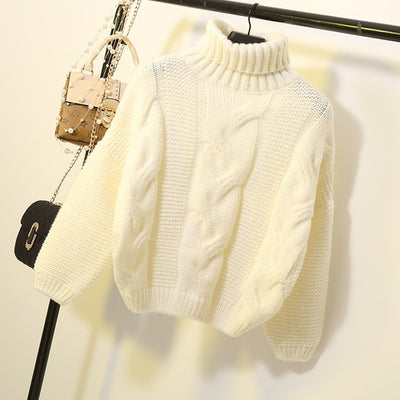 Sweaters Women Autumn Winter Thickened Knits Korean Style Turtlenek Neck Short Wear Lazy Wind Pullover Tops Beige Brown