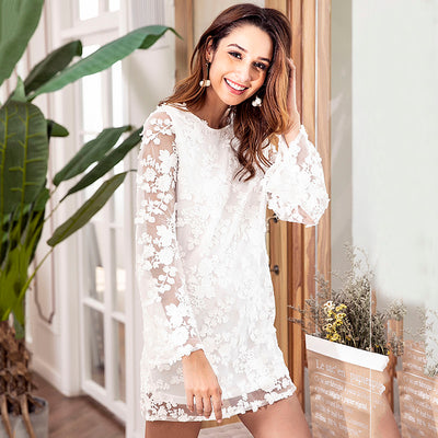 Sweet Women Embroidered Floral Lace Dress Open Back Sheer Long Sleeves Casual Loose Party Mini Shift Sundress Vestidos White