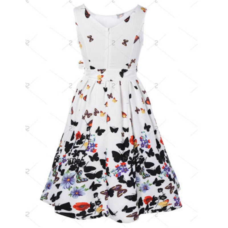 8516505b97 Sweet Women Swing Dresses Butterfly Print Pinup Prairie Chic Sleeveless  High Waist Pleated Party Dress Plus size