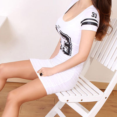 T shirt Bodycon Dress Women Short Sleeve Mini Pencil Sexy Dresses Letter Low Cut Bandage Tshirt Dress Summer Vestidos X4