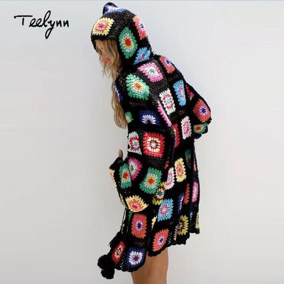 TEELYN boho cardigans floral knitted sweater long sleeve tassel decoration hooded loose Hippie Casual women sweater coat
