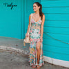 TEELYNN Boho dress floral print sexy sleeveless strap summer dresses V-neck hippie long women dresse beach wear vestidos