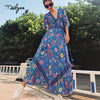 TEELYNN Boho dress sexy V-neck tassel short sleeve women dresses blue bird floral print summer dress bohemia long dresses
