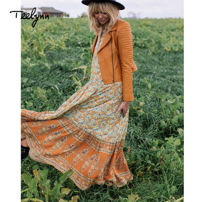 TEELYNN Boho dress yellow rayon floral print tank sleeveless sexy loose women dresse beach wear hippie maxi dresses vestidos