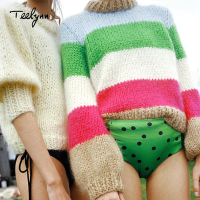 TEELYNN Boho knitted sweater new winter Color stripe long sleeve pullovers Casual chic Mohair sweater thick women sweaters